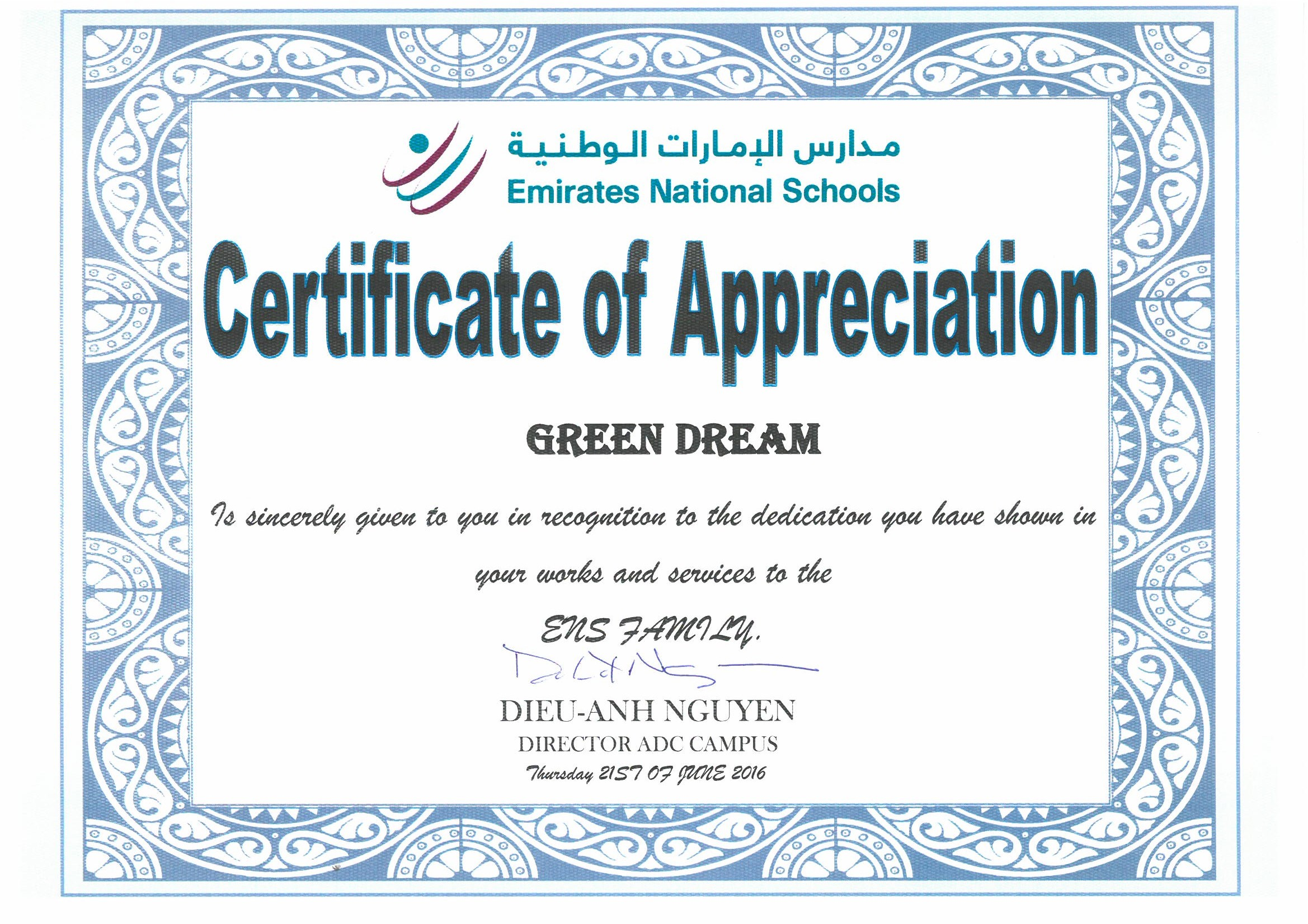 Appreciation letters green dream emirates national school yadclub Choice Image